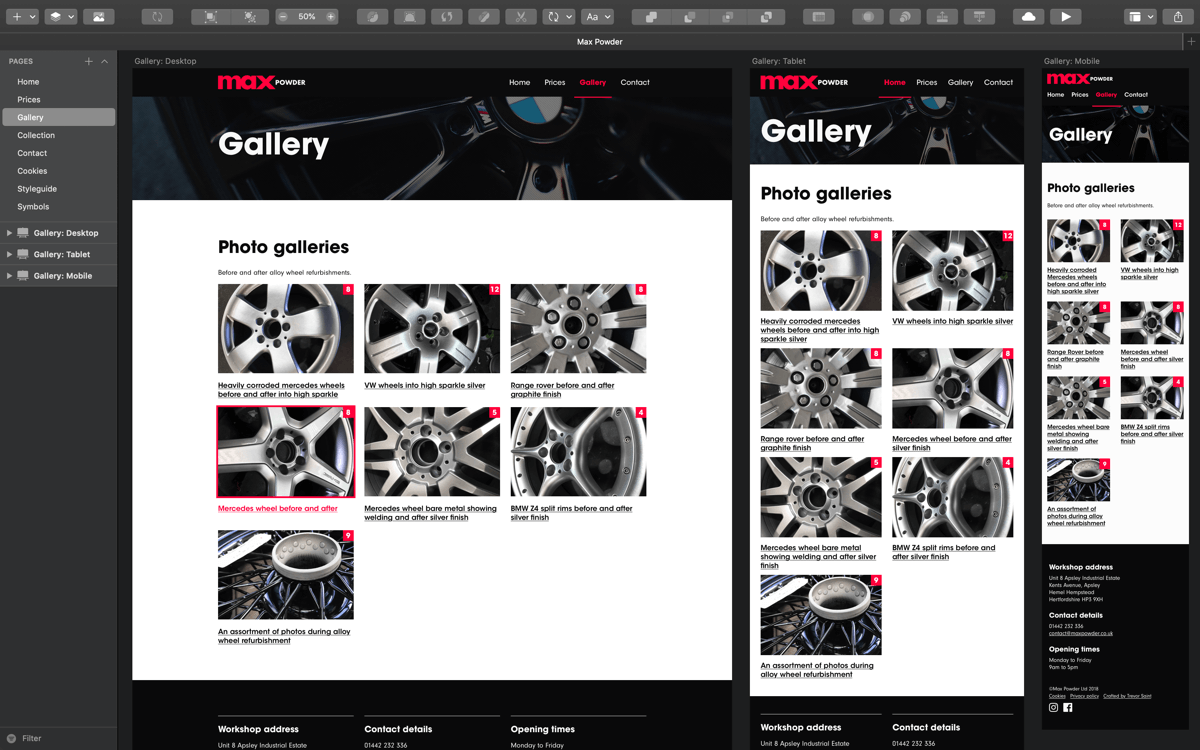Gallery page example illustrating desktop, tablet and mobile versions