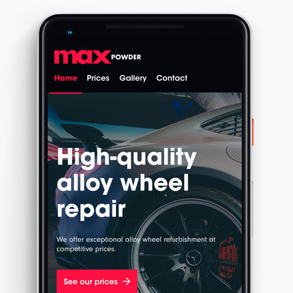 How the Max Powder website looks on a Google Pixel mobile device