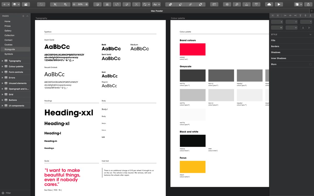Style guide example illustrating typography and colour palette