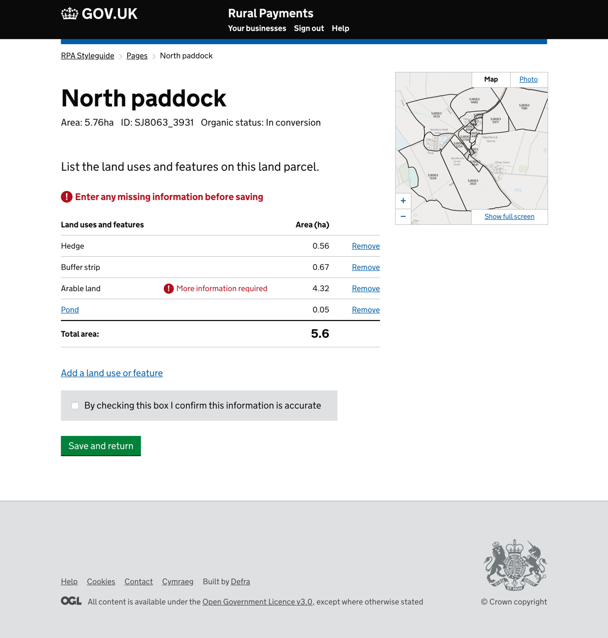 Plotting of land and land information screen