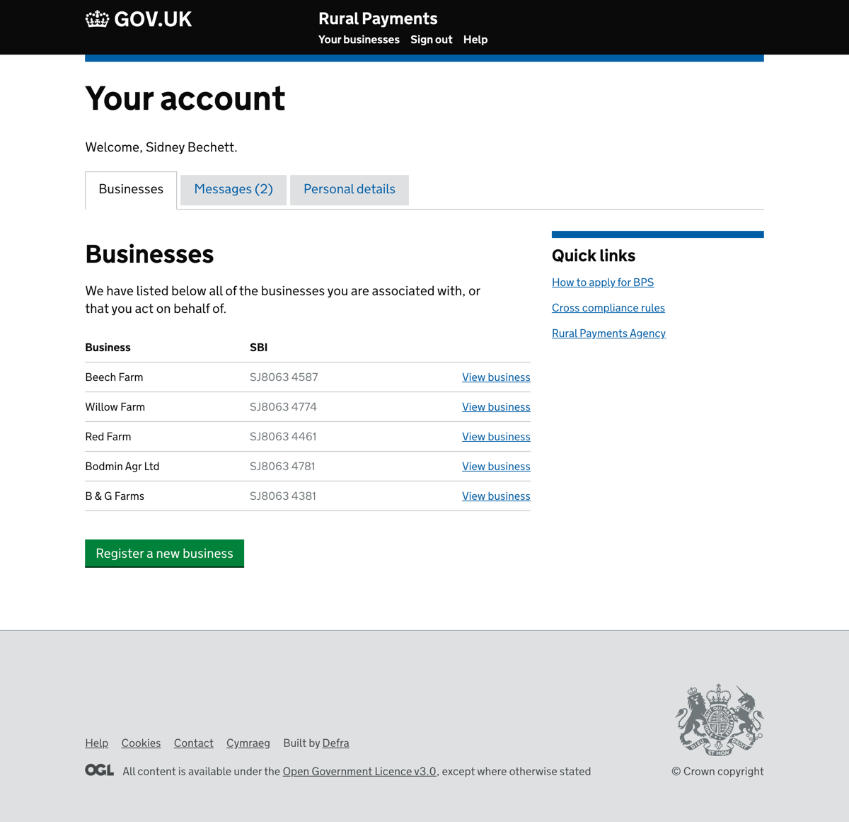 Your account showing businesses, messages and personal details screen